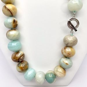 925 S SILVER & NATURAL AMAZONITE NECKLACE